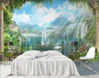 Waterfall and White Swan with Garden Flowers Landscape Wallpaper Mural