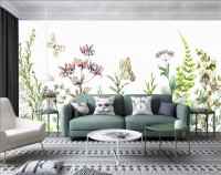 Wild Floral and Green Fresh Leaves Wallpaper Mural