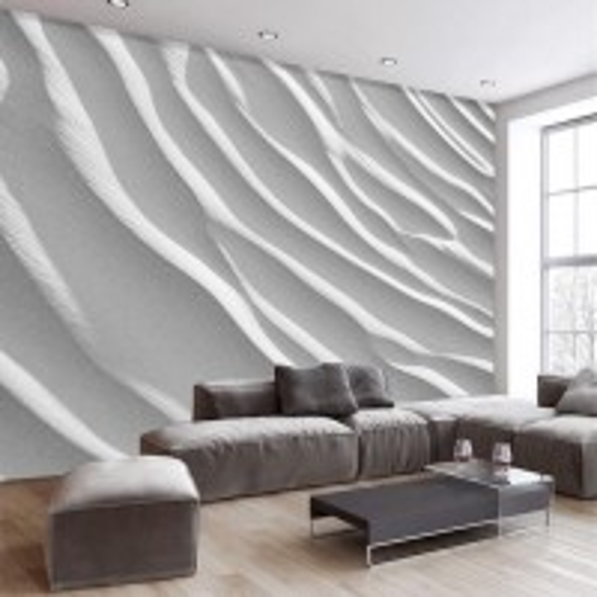Nordic Style White Stripe Wallpaper Mural