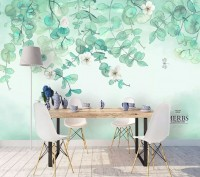 Plum Blossom with Leaves Wallpaper Mural