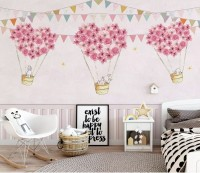 Flowery Hot Air Balloon with Rabbits Wallpaper Mural