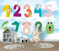 Numbers with Animals Wallpaper Mural
