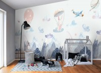 Watercolor Style Kids Landscape with Cute Bunny Wallpaper Mural