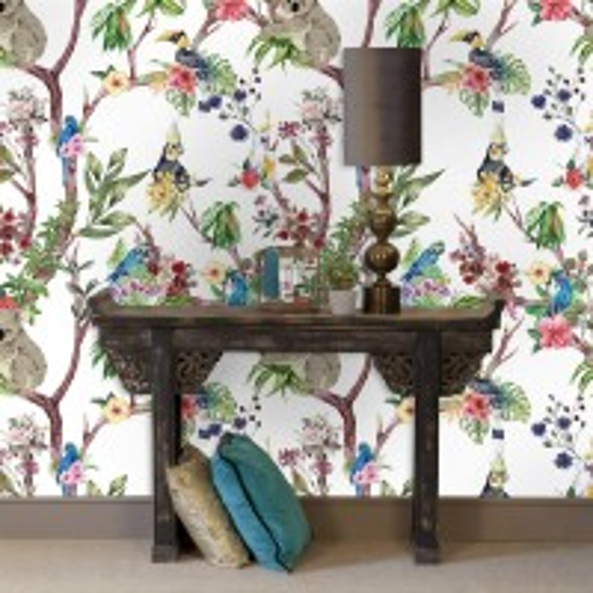Animals on Flowering Tree Wallpaper