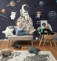 Astronaut and Animals in Space Wallpaper Mural for Children