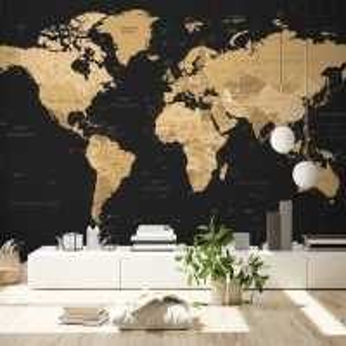 Black Political World Map Wallpaper Mural