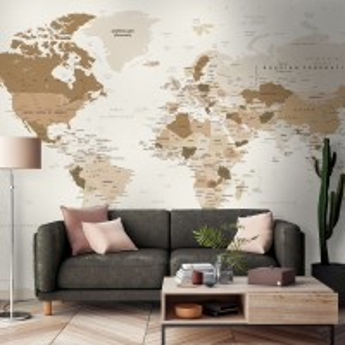 Brown Political Map Wallpaper Mural