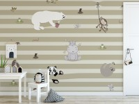 Cute Animals on the Colorful Stripe Wallpaper Mural