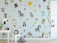 Cute Baby Animals with Sun Wallpaper Mural