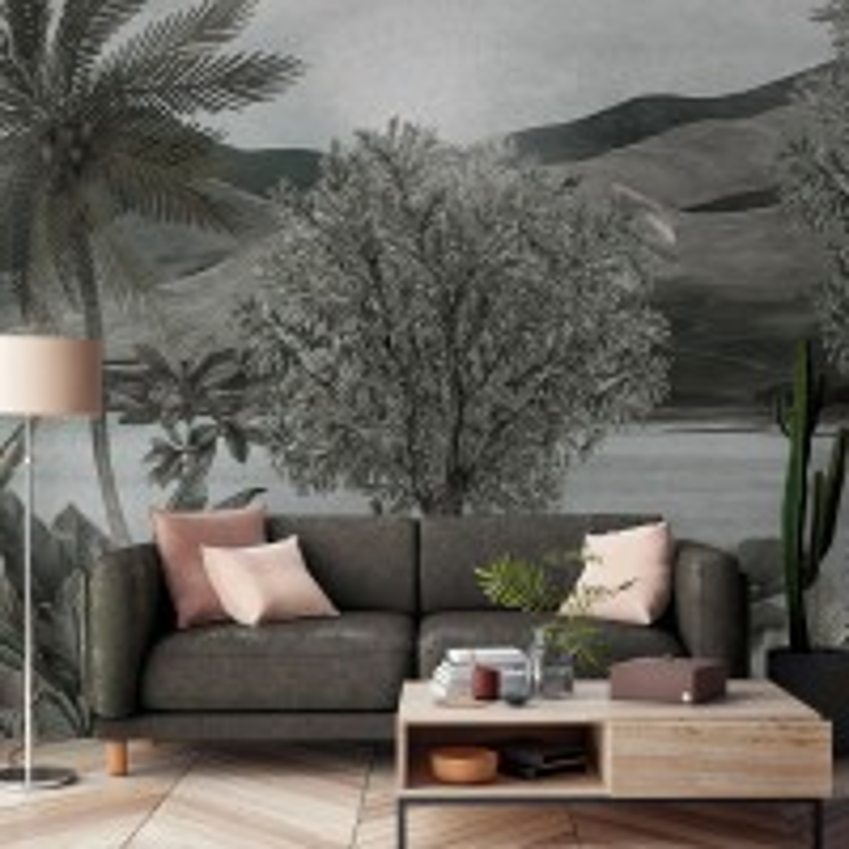 Dreamy Tropical Dark Forest Scene Wallpaper Mural