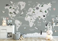 Kids Political Soft World Map with Cute Animals Wallpaper Mural
