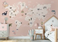 Kids Political World Map with Old Hot Air Balloons Wallpaper Mural