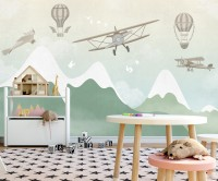Kids Snowy Mountain with Airplane Wallpaper Mural