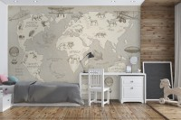 Kids Soft Brown Continent World Map with Drawing Animals Wallpaper Mural