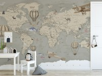 Kids Soft Brown Political World Map with Drawing Animals Wallpaper Mural