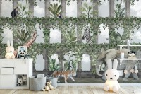 Kids Tropical Animals Around the Arch Wallpaper Mural