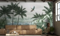 Misty Tropical Forest with Lake Wallpaper Mural