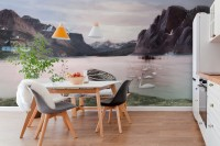 Natural View with Mountains Wallpaper Mural