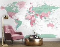 Pink and Green Political World Map Wallpaper Mural