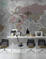 Soft Colorful Political World Map Wallpaper Mural