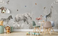 Tropical Animals with Leafs Wallpaper Mural For Children
