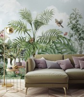 Tropical Leaves with Birds and Florals Wallpaper Mural