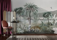 Vintage Exotic Landscape with Wild Animals Wallpaper Mural