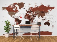 White and Brown Political World Map Wallpaper Mural