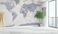 White and Purple Political World Map Wallpaper Mural