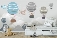 Kids Cartoon Hot Air Balloon and Airplane Wallpaper Mural
