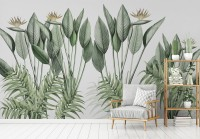 Vintage Palm Leaf and Colorful Birds Wallpaper Mural
