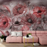 Corn Poppy with Butterflies Wallpaper Mural