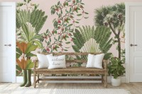 Exotic Leafs with Berries Wallpaper Mural