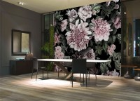 Florals With Green Leafs Wallpaper Mural