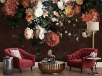 Golden Age Large and Dark Floral Wallpaper Mural