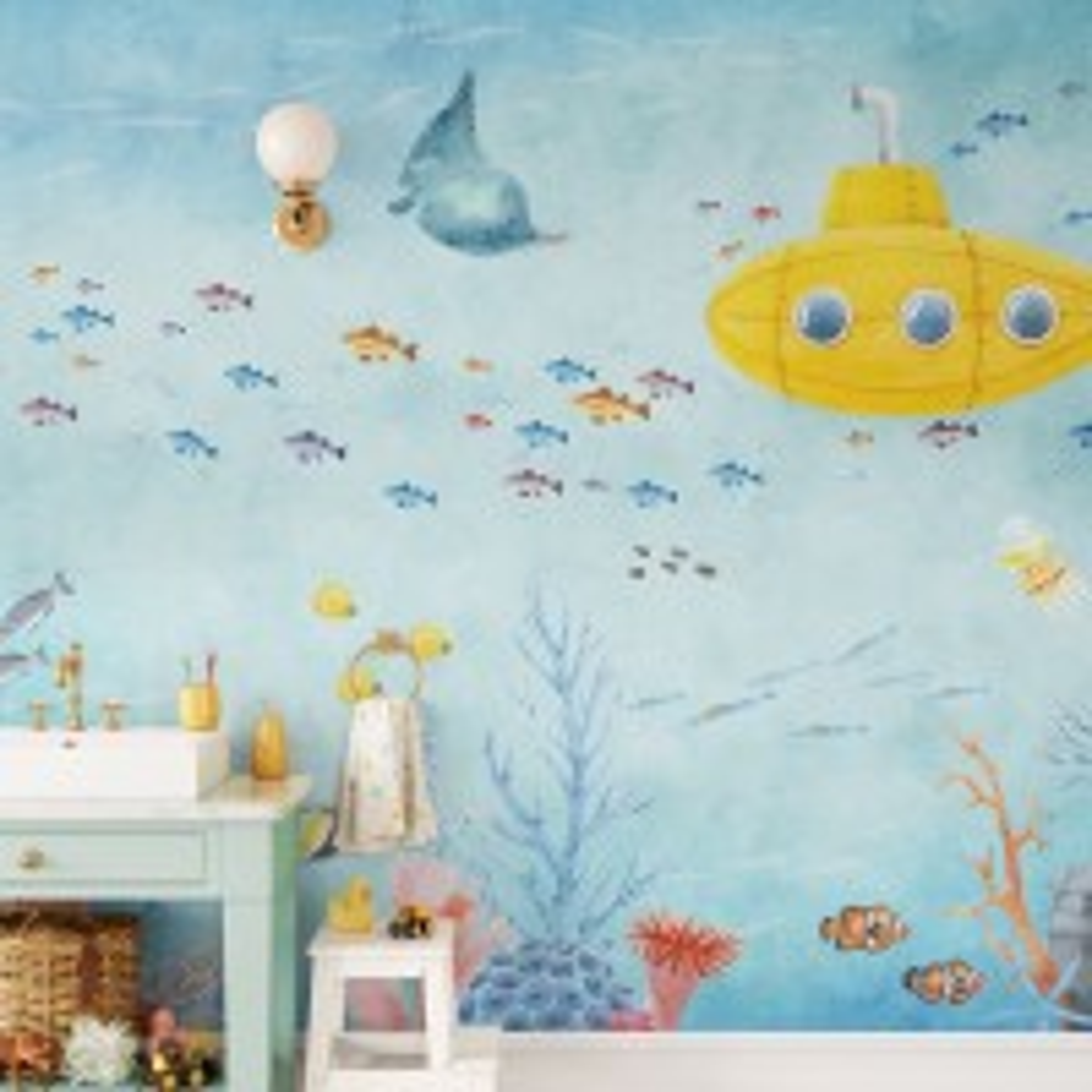Kids Nursery Undersea with Submarine Wallpaper Mural