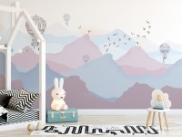 Kids Soft Misty Mountain Landscape and Old Hot Air Balloons