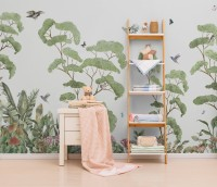Kids Tropical Forest with Cute Rabbits Wallpaper Mural