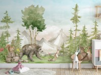 Kids Watercolor Pine Tree Forest with Animals Wallpaper Mural
