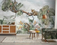 Leopards and Tropical Leaves Wallpaper Mural