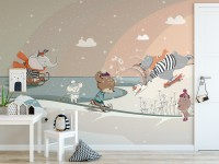 Nursery Snowy Landscape with Cute Cartoon Animals Wallpaper Mural