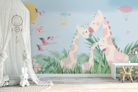 Nursery Tropical Landscape with Cute Girrafes Wallpaper Mural