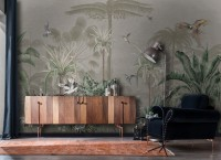 Retro Soft Forest with Stork Wallpaper Mural