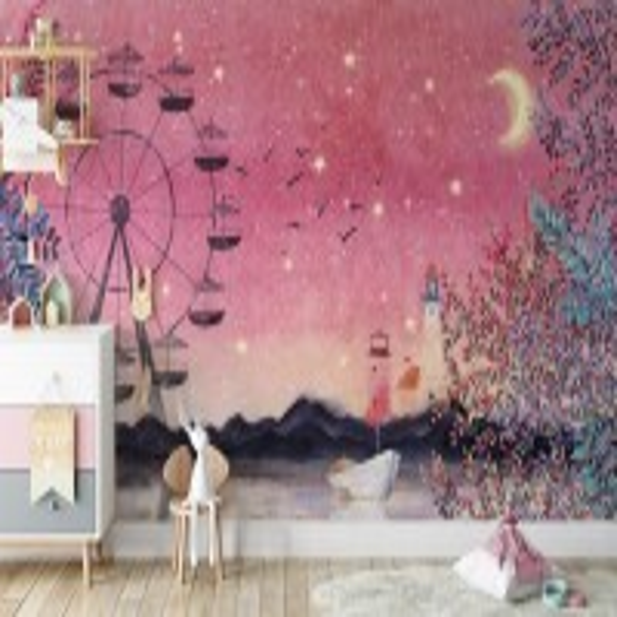 Sea Landscape with Ferris Wheel Wallpaper Mural
