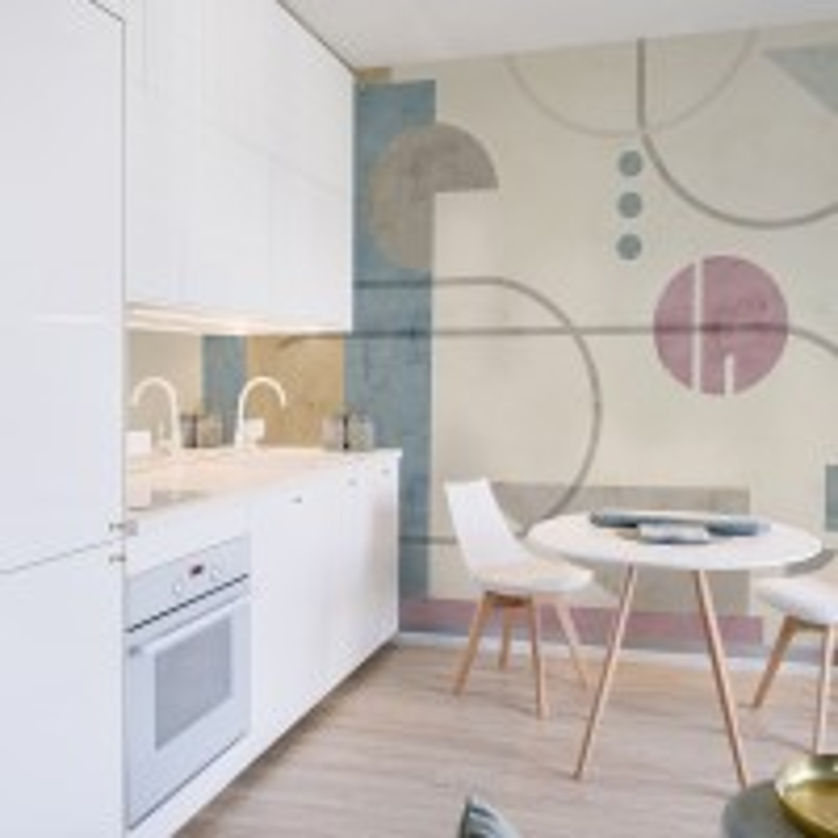 Soft Geometric Shape Art Wallpaper Mural
