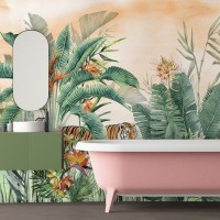 Tiger and Tropical Leaves Wallpaper Mural