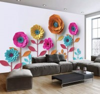 Colorful Paper Peony Floral Wallpaper Mural