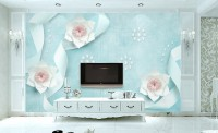 Paper Florla with Blue Ribbon Wallpaper Mural