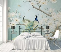 Peacock with Magnolia Blossom Wallpaper Mural