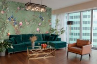 Peacock with Peony Blossom Wallpaper Mural